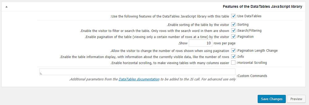 بخش Features of the DataTables JavaScript library