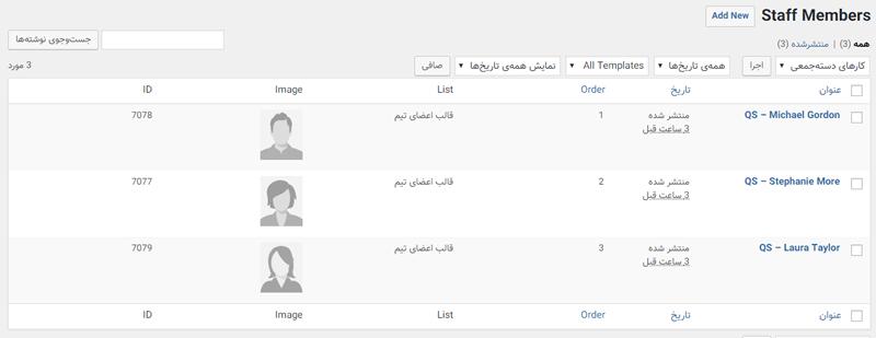 نمایش اعضای تیم در وردپرس با افزونه وردپرس Staff List