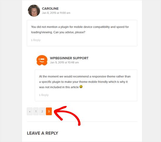 صفحه بندی نظرات وردپرس