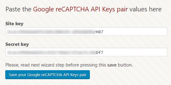 کدهای site key و secret key