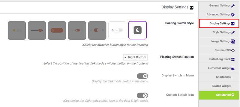 تب Display Settings در افزونه WP Dark Mode