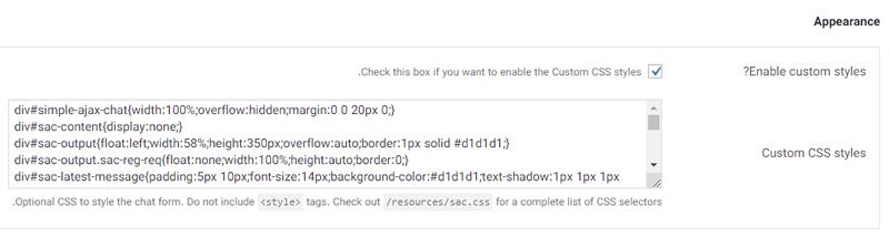 قسمت Appearance در افزونه Simple Ajax Chat